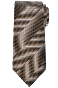 Tom Ford Tie Woven Silk Brown Zig Zag
