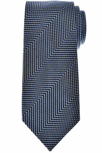 Tom Ford Tie Woven Silk Blue Zig Zag