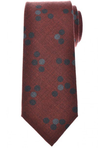 Isaia Napoli 7 Fold Tie Wool Rust Brown Gray Circle