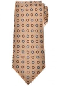Isaia Napoli 7 Fold Tie Wool Silk Brown Gray Circle