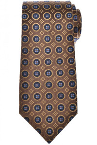 Isaia Napoli 7 Fold Tie Silk Brown Blue Geometric