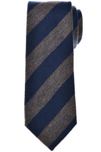 Isaia Napoli Tie Cashmere Wool Blue Brown Stripe