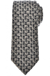 Isaia Napoli 7 Fold Tie Wool Silk Gray Floral