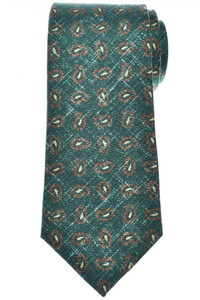 Isaia Napoli 7 Fold Tie Silk Green Brown Paisley