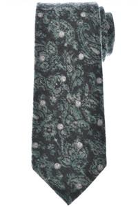 Isaia Napoli 7 Fold Tie Wool Yak Green Gray Paisley