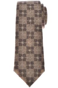 Isaia Napoli 7 Fold Tie Wool Brown Plaid