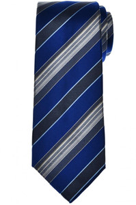 Isaia Napoli Narrow Tie Silk Blue Gray Stripe