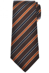 Isaia Napoli 7 Fold Tie Silk Brown Orange Stripe