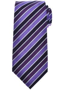 Isaia Napoli 7 Fold Tie Silk Purple Stripe