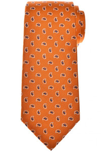 Isaia Napoli 7 Fold Tie Silk Orange Blue Paisley