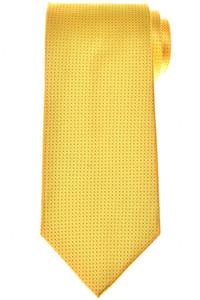 Isaia Napoli Tie Silk Yellow Red Polka Dot