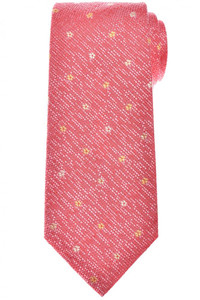 Isaia Napoli 7 Fold Tie Silk Pink Orange Geometric