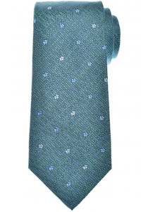 Isaia Napoli 7 Fold Tie Silk Green Blue Geometric