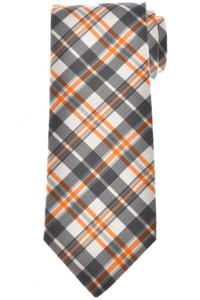 Isaia Napoli Tie Silk Gray Orange Plaid