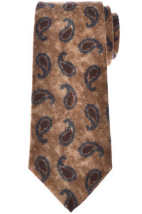 Isaia Napoli 7 Fold Tie Wool Brown Gray Paisley