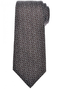 Isaia Napoli 7 Fold Tie Silk Brown Gray Geometric