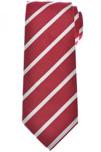 Isaia Napoli 7 Fold Tie Silk Cotton Red Stripe
