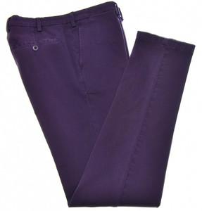 Isaia Napoli Dress Pants Cotton Stretch Twill Size 32 Purple