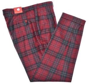 Isaia Napoli Pants 1 Pleat Wool Size 34 Red Gray Tartan Plaid