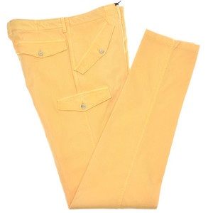 Isaia Napoli Cargo Pants Ribbed Cotton Stretch Size 32 Yellow
