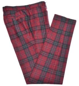 Isaia Napoli Pants Wool Size 32 Red Gray Tartan Plaid