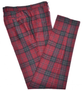Isaia Napoli Pants Wool Size 30 Red Gray Tartan Plaid