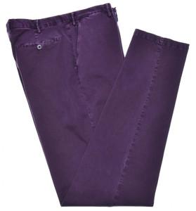 Isaia Napoli Dress Pants Cotton Stretch Size 38 Washed Purple