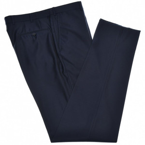 Isaia Napoli Dress Pants Aquaspider Wool Size 44 Navy Dark Blue