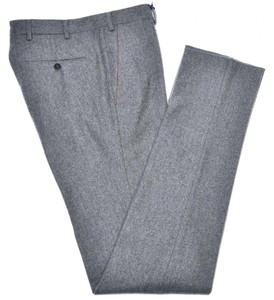 Isaia Napoli Dress Pants Wool Flannel Size 40 Gray