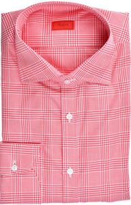 Isaia Napoli Dress Shirt Cotton 41 16 Red Plaid