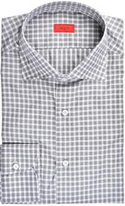 Isaia Napoli Dress Shirt Cotton 39 15 1/2 Dark Brown Check