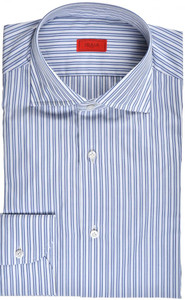 Isaia Napoli Dress Shirt Cotton 41 16 Blue Stripe