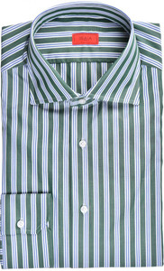 Isaia Napoli Dress Shirt Cotton 43 17 Green Blue Stripe