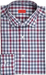 Isaia Napoli Dress Shirt Cotton 44 17 1/2 Gray Red Check