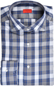 Isaia Napoli Dress Shirt Cotton 40 15 3/4 Blue Plaid