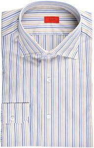 Isaia Napoli Dress Shirt Cotton 43 17 Yellow Blue Stripe