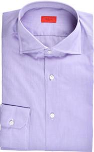 Isaia Napoli Dress Shirt Superfine Cotton Voile 43 17 Purple