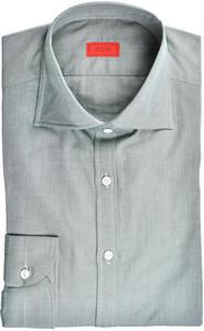 Isaia Napoli Dress Shirt Cotton Twill 41 16 Green