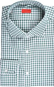 Isaia Napoli Dress Shirt Cotton 42 16 1/2 Green Check