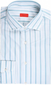 Isaia Napoli Dress Shirt Cotton 41 16 Green Stripe
