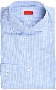 Isaia Napoli Dress Shirt Cotton 41 16 Blue Check