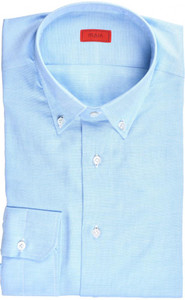Isaia Napoli Dress Shirt Cotton 43 17 Blue