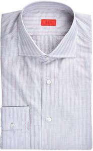 Isaia Napoli Dress Shirt Cotton 42 16 1/2 Gray Red Stripe