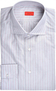 Isaia Napoli Dress Shirt Cotton 41 16 Gray Red Stripe