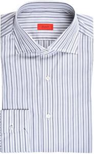 Isaia Napoli Dress Shirt Cotton 43 17 Blue Gray Stripe