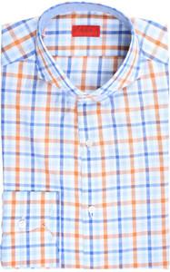 Isaia Napoli Dress Shirt Extra Trim Cotton 39 15 1/2 Orange Check