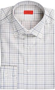 Isaia Napoli Dress Shirt Cotton 41 16 Brown Gray Check