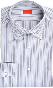 Isaia Napoli Dress Shirt Cotton 41 16 Gray Stripe