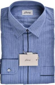 Brioni Dress Shirt Soft Cotton Small II Blue Herringbone