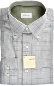 Brioni Dress Shirt Soft Cotton Small II Gray Green Check